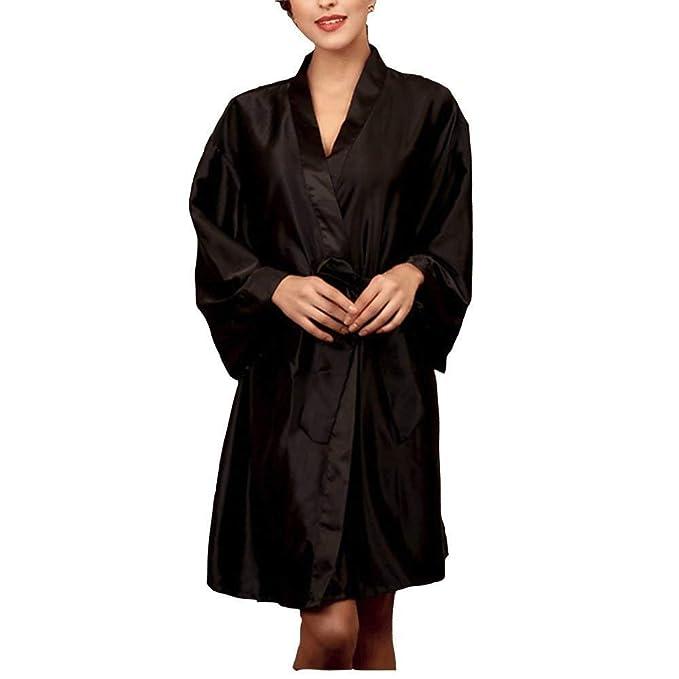 Mujer Kimono Primavera Otoño Color Sólido Pijama Elegante Moda Clásico Casual Batas Ropa Manga Larga V-Cuello con Cinturón Camisones Pijamas Mujer (Color ...