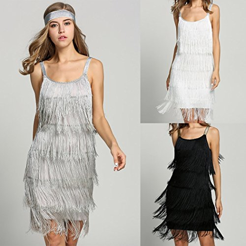 Zhchl Jazz Fringe Flapper 1920s 30s Fancy Dress Gatsby Womens Costume Dress Gray XL