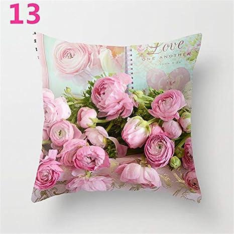 Star Supermarket Funda de cojín con diseño de Flor de Rosa para sofá, decoración del hogar, para el día de la Madre, poliéster, 13, 45×45cm