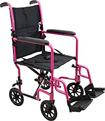 Roscoe Medical Kta1916sa-pk Aluminum Transport Wheelchair, Pink