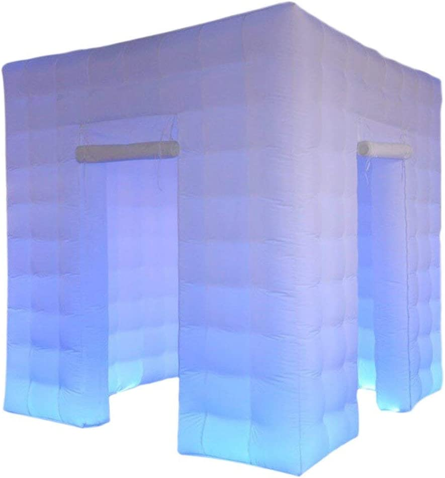 Cabina de fotos inflable portátil Toogou con 17 luces LED multicolores y soplador de aire y accesorios para cabina de fotos para fiesta de boda 8,2 x 8,2 x 8,2 pies 2 Doors