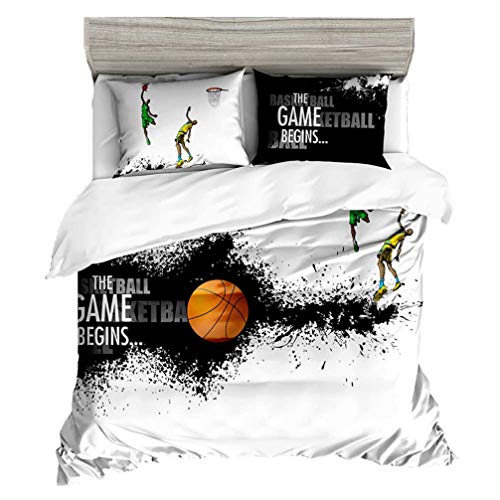 Beddingwish Basketball Playing Games Pattern Bedding Set,3D Microfiber Table Tennis Sports Bed Set Men Teens Boys, Full/Queen - Bedding Sheets Football Bed Set