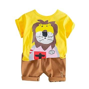 4d4a8078b0992 LianMengMVP Ensemble Bébé Garçon Filles T-Shirt Manche Courte Chemise Lion  de Dessin animé Haut