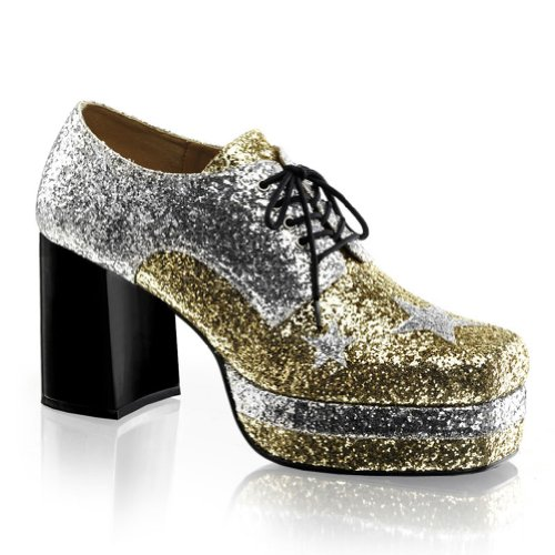 3 1/2 Inch MENS SIZING Glitter Glam Rockstar Costume Shoes Chunky Heel Size: Medium
