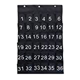 SYROVIA Durable Denim Numbered Classroom Pocket Chart for Cell Phones Holder Sundries Closet Wall Door Hanging Organizer(36 Pockets)