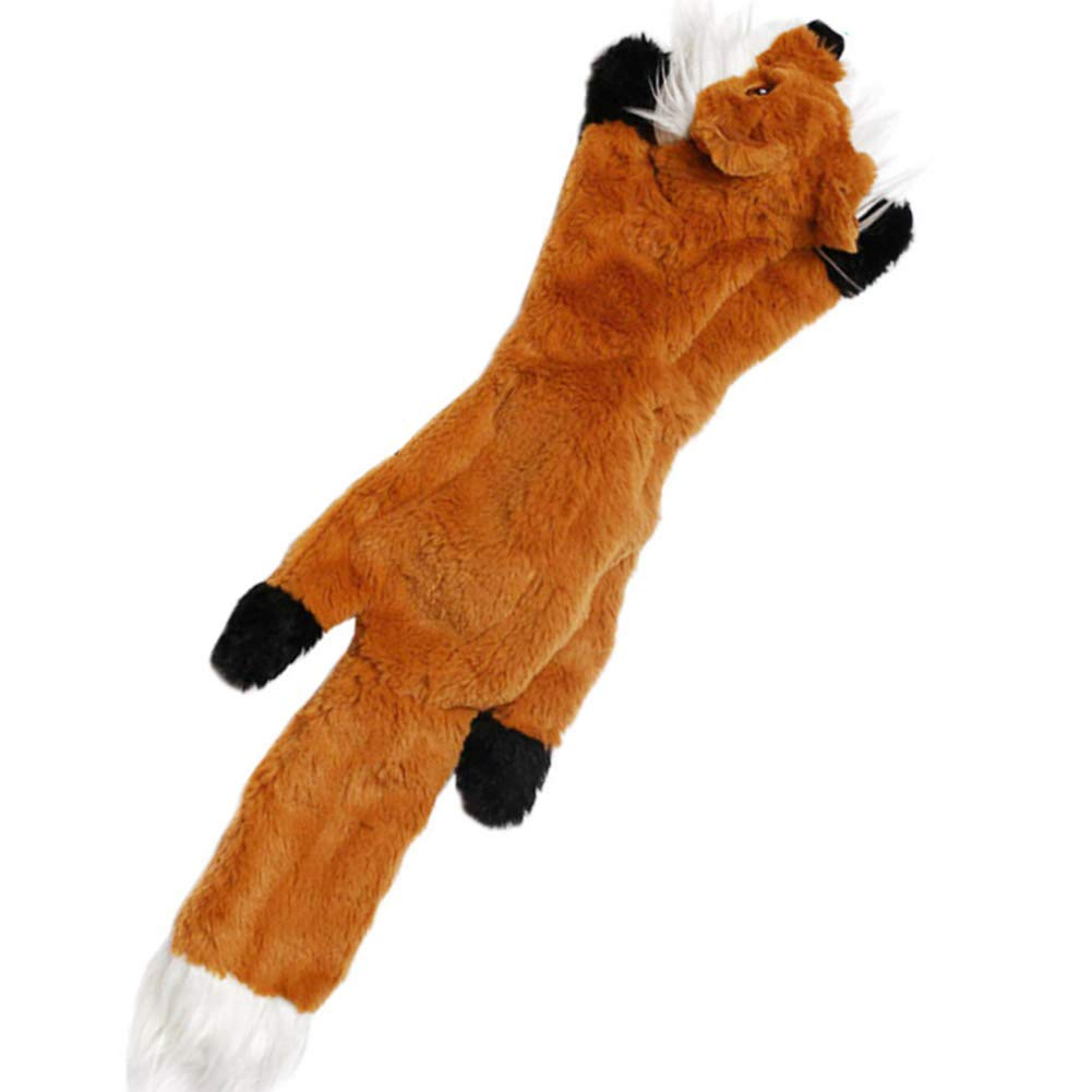 YiPet Squeaky Toys No Stuffing Dog Toys with Squeakers, Durable Stuffingless Plush Toy, Dog Toy for Medium Dogs, Fox