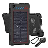 Hobest Solar Charger 10000mAh,Water-resistant Outdoor Solar Power Bank with LED Flashlight,Dual USB Portable Charger Solar for Smartphones,GoPro Camera,GPS and Emergency Travel (Red)