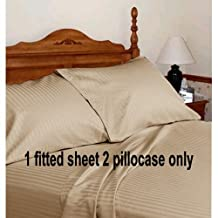"""Egyptian Cotton Three Quarter 48X75"""" Fitted Sheet & Pillowcase 12"""" Deep Pocket 600 Thread Count Taupe Stripe"""