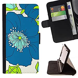 Momo Phone Case / Flip Funda de Cuero Case Cover - Arte Dibujo minimalista azul - Huawei Ascend P8 (Not for P8 Lite)