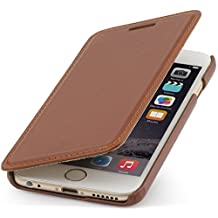 StilGut® Book Type Leather Case without Clip for Apple iPhone 6 (4.7''), Cognac Brown