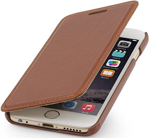 StilGut Book Type sin cierre, funda exclusíva en piel auténtica para el iPhone 6s (4.7), en azul oscuro Cognac