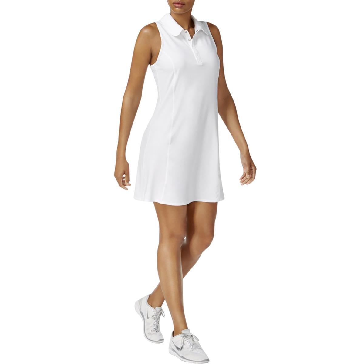 Ideology Women's Polo Tennis Dress (Bright White, X-Large)