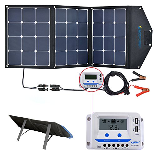 ACOPOWER 120W Portable Solar Panel, 12V Foldable Solar Charger with 10A LCD Charge Controller in Suitcase by ACOPOWER