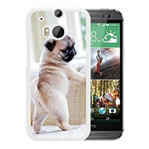 Unique And Popular HTC ONE M8 Case ,baby pugs White HTC ONE M8 Screen Cover Beautiful Designed