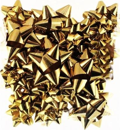 16 Christmas Metallic Bows Assorted Sizes GOLD Xmas Decoration Gift Wrap Present Birthday Party Festive Self Adhesive Concept4u