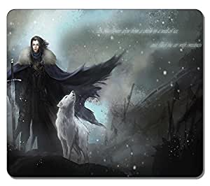 Customized Fashion Style Textured Surface Water Resistent Mousepad Jone Snow With Wolf Game Of Thrones Non-Slip Best Large Gaming Mouse Pads