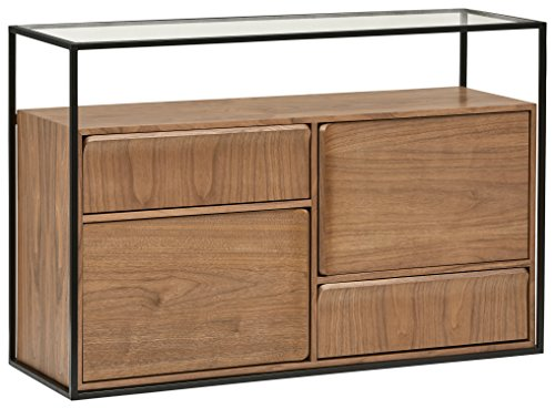 - Rivet King Street Industrial Four-Drawer Media Console Table, Walnut, Black Metal, Glass