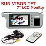 Left or Right 7 Car Sun Visor Monitor 2 Channel Video for DVD and Car Rearview Camera