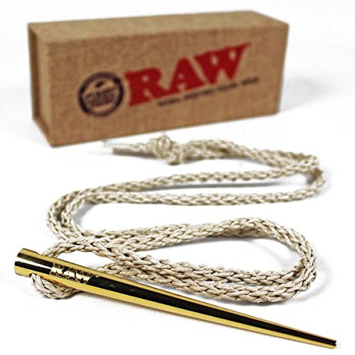 Thick Hemp Necklace (RAW Rolling Papers Gold Poker with Woven Natural Hemp Necklace)