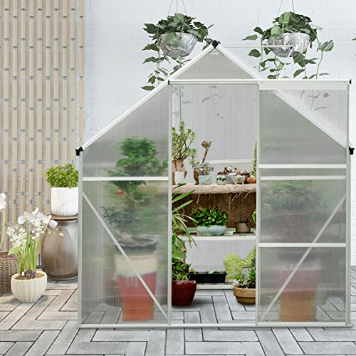 Giantex Walk-in Greenhouse Plant Growing Tent Large Green Garden Hot House with Adjustable Roof Vent, Rain Gutters Heavy Duty Polycarbonate Aluminum Frame (6.2'L x 8.2'D) by Giantex (Image #3)