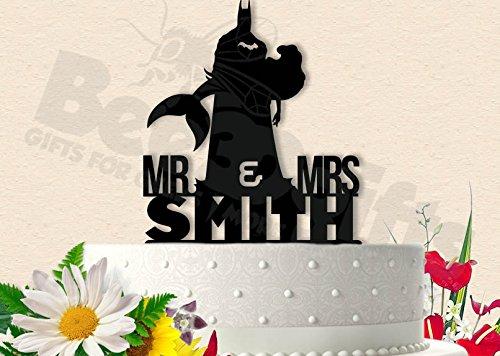 Batman Wedding Cake.Batman And Ariel Wedding Cake Topper With Last Name