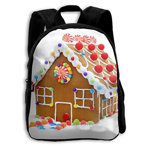 (BINGZHAO Christmas Clipart Gingerbread House School Bag Bookbag Backpack Daypack for Kids Girls)