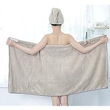 Skyseen Bowknot Women's Coral Fleece Spa Bath Towel Wrap with Velcro Closure,Khaki(Include Hair-drying Cap)
