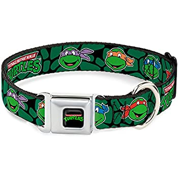 Buckle-Down Seatbelt Buckle Dog Collar - Classic TMNT Turtle Faces Black/Green Turtle Shell - 1