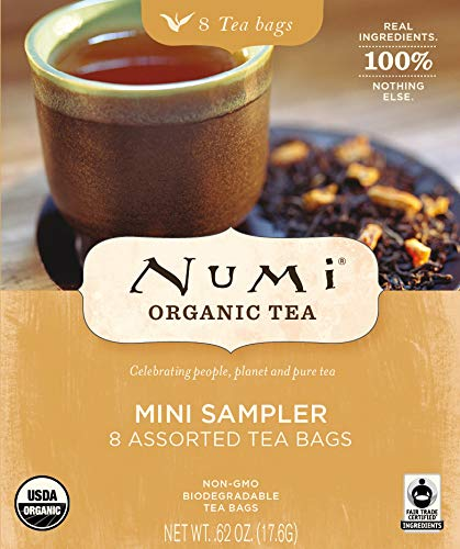 (Numi Organic Tea Mini Sampler, 8 Count Box of Tea Bags - Black, Green, White & Herbal Teas (Packaging May Vary))