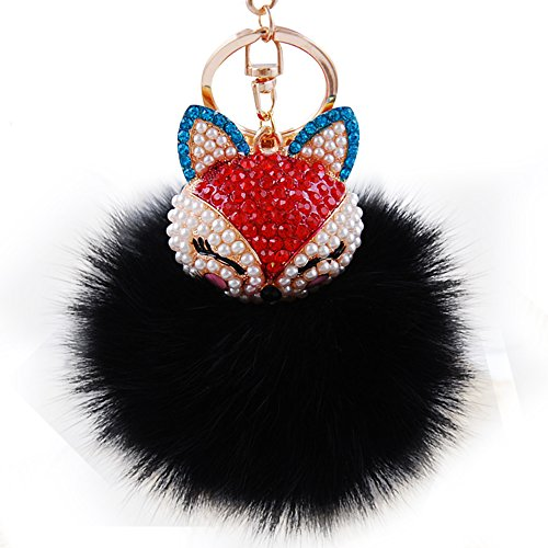 Real Fox Fur Ball with Artificial Fox Head Inlay Pearl Rhinestone Key Chain for Womens Bag or Cellphone or Car Pendant (01)