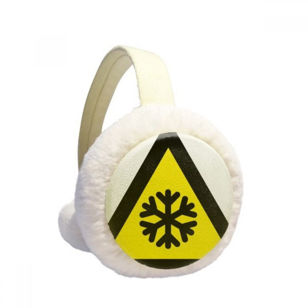 Warning Symbol Yellow Black Snow Road Icing Triangle Winter Earmuffs Ear Warmers Faux Fur Foldable Plush Outdoor Gift