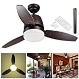 Yescom 42'' Bronze Ceiling Fan with LED Light and Remote Control 3 Blades Indoor Room Home Decoration Maple