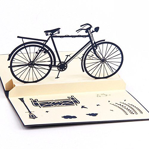 HUNGER Handmade 3D Pop Up Bicycle Car Birthday Cards Creative Greeting Cards Papercraft (Q513209) ()