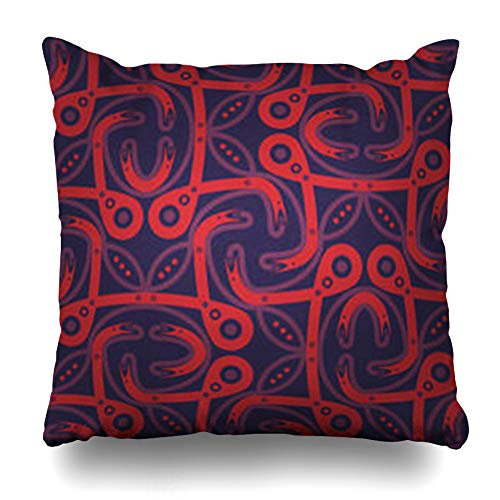 Tessellated Patterns - GisRuRu Throw Pillow Covers Smooth Bright Violet Ornamental in Tribal Knotty Tessellated Pattern Repeatable Colored Contrast for Home Decor Sofa Pillowcase Square Size 16 x 16 Inches Cushion Cases