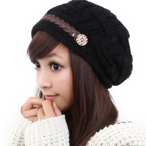LOCOMO Hats Women Cabled Checker Pattern Knit Beanie Hat Cap (Knit Skull Cap Pattern)