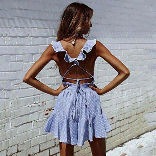 vestito Gonne Scollo party a Vestire Mini profondo Vestiti donna Blu da Retrò Abito da Donna V Vestiti Midi con scollo con cocktail Abito Abito Yanhoo fascia Classico 5q065