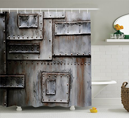 Ambesonne Industrial Decor Collection, Wall Old Metallic Entrance Closed Factory Gate Security Protection Image, Polyester Fabric Bathroom Shower Curtain, 84 Inches Extra Long, Rusty Grey