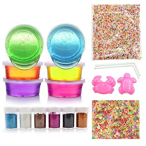 Gunsamg 18 Pack Slime Kit - 6 Colors Slime with 1 Pack Colorful Foam Balls, 1000pcs Fresh Fruit Face Decoration, 2 Pack Grow in The Dark Powder,6 Bottles Holographic Glitter Shake Jars for DIY Slime