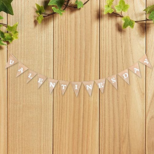 Tinksky VALENTINE'S DAY Bunting Banners Rustic Jute Burlap Pennant Flags Vintage Garland Decorations Party Favors for Valentine's Day -