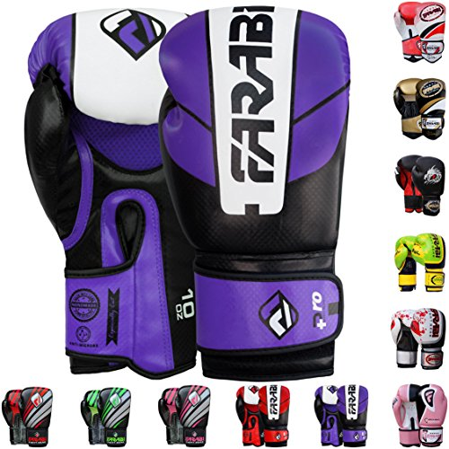Boxing Fighter - Farabi Pro Fighter Boxing Gloves Sparring Gym Bag Punching Focus Pad Mitts (Purple/Black, 12Oz)