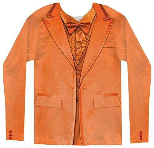 Long Sleeve: Orange Tuxedo Costume Tee Longsleeve Shirt Size M