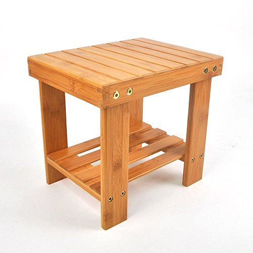 Lykos New Step Stool with Storage Shelf Multipurpose Kids Bamboo Stools Home Furniture by Lykos