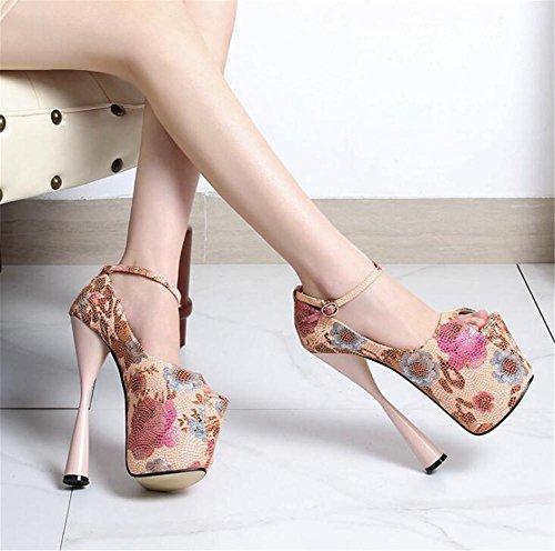 Pompes 35 XIE club forme Talon et PINK bloc Des Chaussures 41 haut sandales soirée Plate Toe Fête Open EU41 Taille Impression pour femmes à FrxTqw7HF