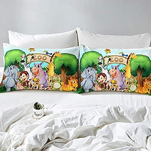 BCDJYFL Imprimé Housse De Couette Zoo De Dessin Animé 3D Impression Enfant Garçon Les Jeunes Parure De Lit Simple Chambre Provisions.180X220Cm(Pas De Remplissage)
