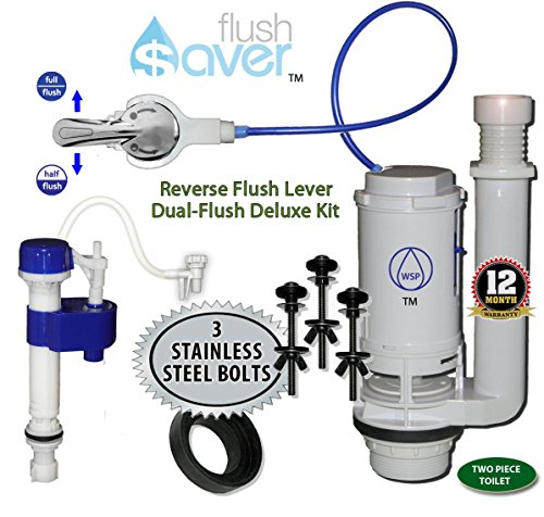FlushSaver REVERSE FLUSH HANDLE Dual-Flush Deluxe DIY Conversion Kit - Similar to Original ONE2FLUSH(tm). FITS STANDARD 2