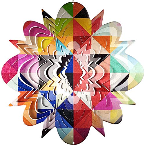OUTOUR Colorful Grid Stainless Steel 3D Wind Spinner Indoor Outdoor Garden Decoration Crafts Ornaments 12Inch Multi - 12 Spinners Wind Inch Spinner