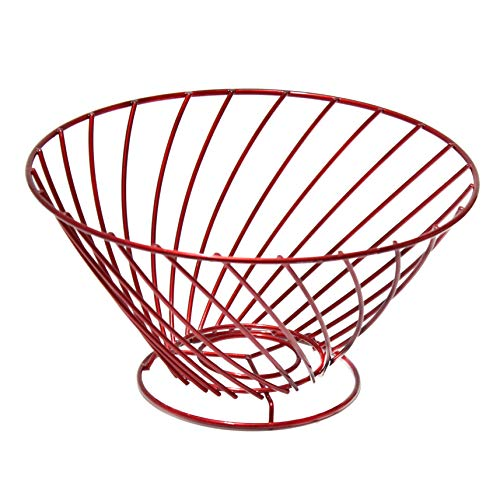 - Lonovel Countertop Fruit Basket Holder,Wire Cup Shape Decorative Fruit Serving Bowl Modern Fruit Stand Kitchen Storage for Orange Banana Apple Cup-Coffee Vegetables Household Items,3 Colors (Ruby Red)