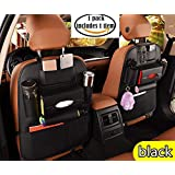 PU Leather Premium Car Backseat Organizer for Baby Travel Accessories, Car Seat Back Organizer Seat Protector/kick mats back seat protector and iPad Mini Holder, Universal Use Car Backseat Organizer Durable Quality Seat Covers, Cup Holder Organizer (1 Pack Black)