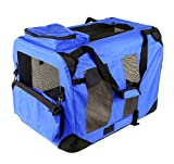 "New 32"" Dog Pet Foldable Portable Soft Crate/Tent (Size: 32""x23""x23"". Color: Blue)"