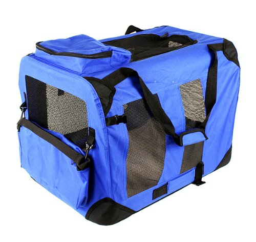 Cheap New 32″ Dog Pet Foldable Portable Soft Crate/Tent (Size: 32″x23″x23″. Color: Blue)